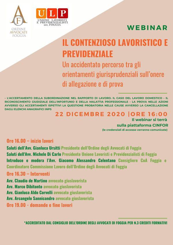 INFORTUNI SUL LAVORO E MALATTIE PROFESSIONALI – LE SLIDES DEL WEBINAR DEL 22.12.2020